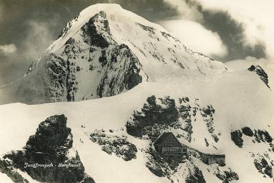 Postcard, Historical, Berghaus Jungfraujoch, Switzerland, the Bernese Alps, B/W- Starfoto-Photographic Print
