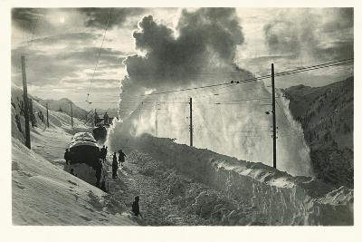 Postcard, Historical, Berninabahn, Winter, Snow Blower, B/W- Starfoto-Photographic Print