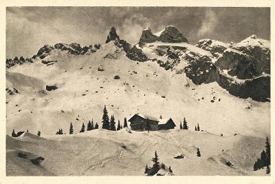 Postcard, Historical, Lindauer HŸtte with Three Towers, Drusenfluh, Vorarlberg, Austria, B/W- Starfoto-Photographic Print
