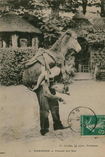 Postcard of a Man Carrying a Donkey, Sent in 1913-French Photographer-Giclee Print