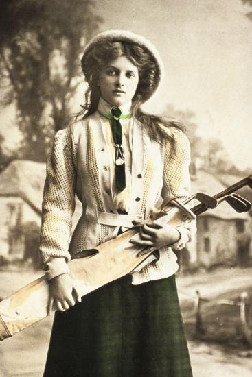Postcard of a woman golfer, c1912-Unknown-Photographic Print