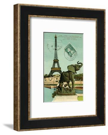 Postcard of Eiffel Tower and Elephant Statue at Palais du Trocadero, 1914--Framed Art Print