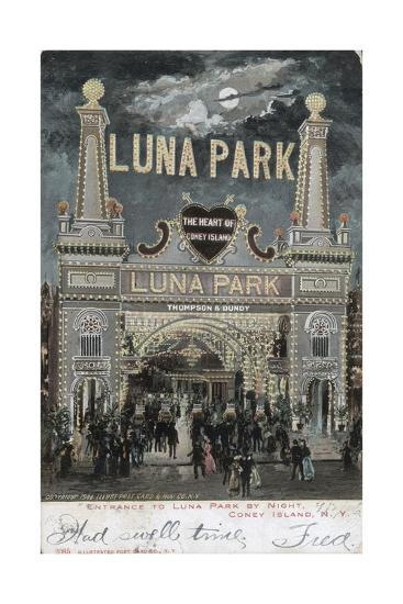 Postcard of Luna Park at Coney Island--Giclee Print