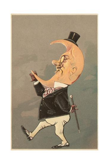 Postcard of the Cresent Moon as the Face of a Man--Giclee Print