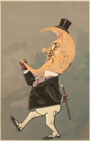 Postcard of the Cresent Moon as the Face of a Man