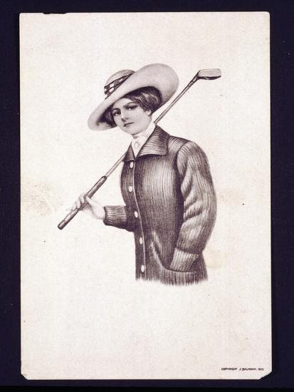 Postcard of woman holding golf club, c1900-Unknown-Giclee Print