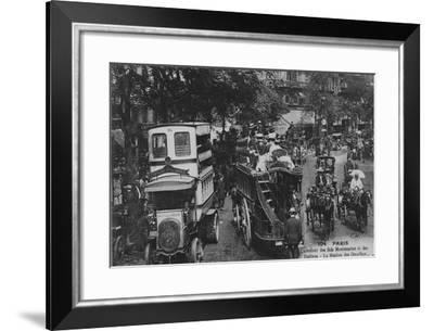 Postcard Showing an Omnibus Station on the Crossroads of Boulevard Montmartre and Boulevard Des Ita--Framed Giclee Print