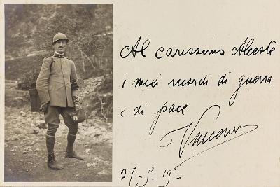 Postcard with Portrait of Italian Soldier of the First World War-Vincenzo Aragozzini-Giclee Print