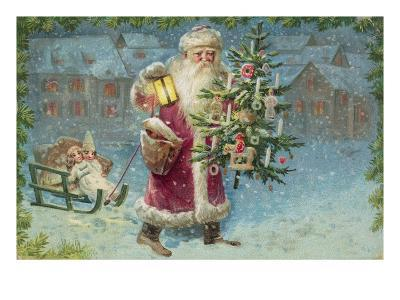 Postcard with Santa Claus Holding a Christmas Tree--Giclee Print