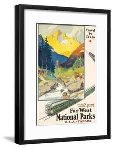 Poster adverting train travel to National Parks. Printed by Newman-Monroe Co., Chicago, ca. 1930