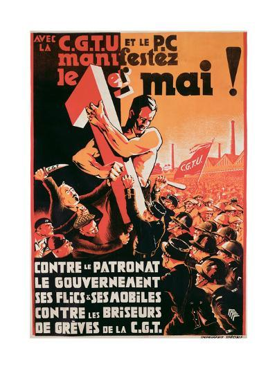 Poster Advertising a 1st May Demonstration by the C.G.T.U. and the P.C. Against Employers--Giclee Print