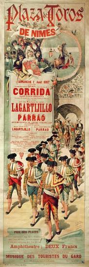 Poster Advertising a Bullfight at the Plaza De Toros, Nimes, 1st August 1897, Engraved by J. Ortega- J. Estellor and E. Pastor-Giclee Print