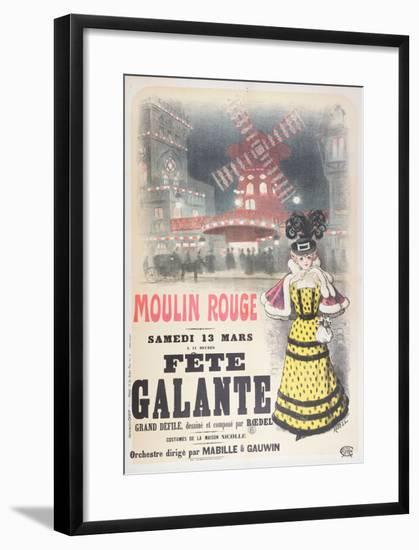 Poster Advertising a 'Fete Galante' at the Moulin Rouge, Montmartre, Paris. Late 19th Century- Roedel-Framed Giclee Print