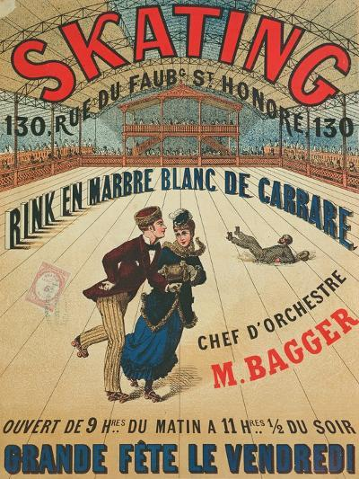 Poster Advertising a Roller Skating Rink in Paris, 1905--Giclee Print