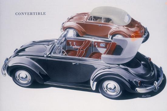 Poster advertising a Volkswagen Convertible, 1959-Unknown-Giclee Print