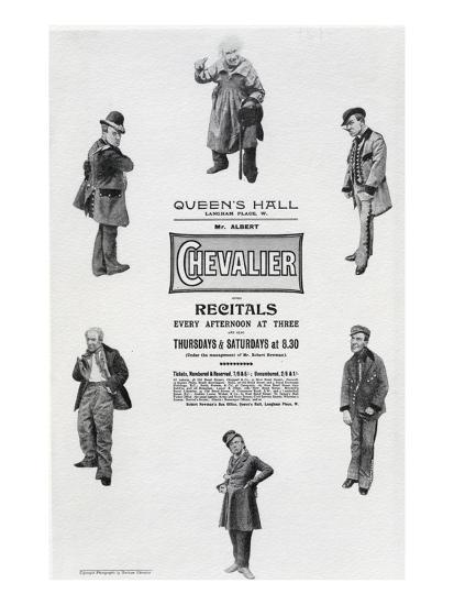 Poster Advertising Albert Chevalier's Recital at the Queen's Hall (Engraving)-English-Giclee Print