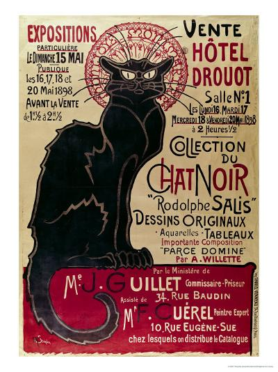 Poster Advertising an Exhibition of the Collection Du Chat Noir Cabaret at the Hotel Drouot, Paris-Th?ophile Alexandre Steinlen-Giclee Print