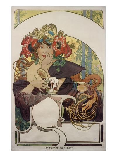Poster Advertising 'Bieres De La Meuse', about 1897-Alphonse Mucha-Giclee Print