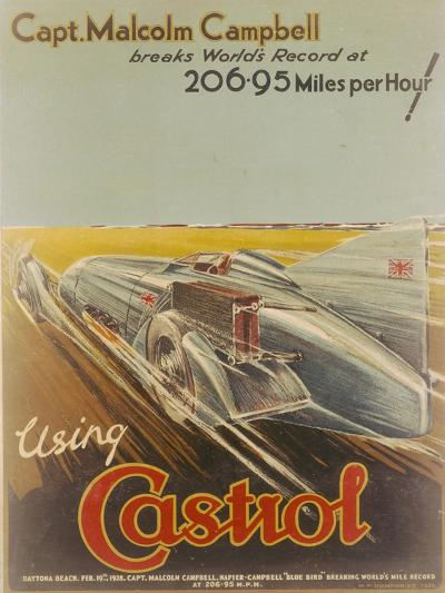 Poster Advertising Castrol, Featuring Bluebird, 1928-NF Humphries-Giclee Print