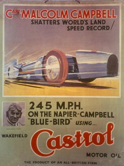 Poster Advertising Castrol Oil, Featuring Bluebird and Malcolm Campbell, Early 1930s--Giclee Print