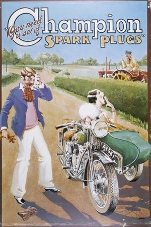 Poster Advertising Champion Spark Plugs