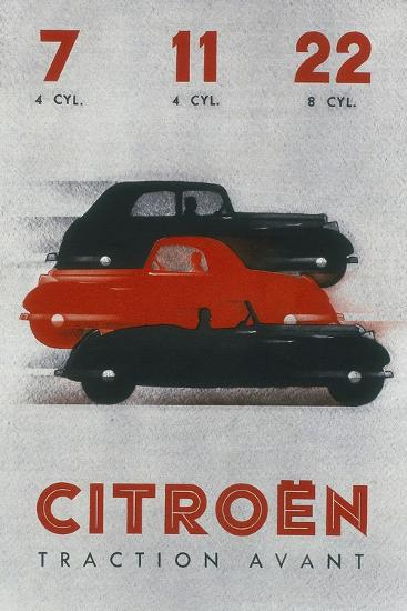 Poster Advertising Citro?n Cars, 1934--Giclee Print