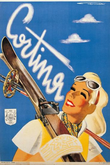 Poster Advertising Cortina d'Ampezzo-Franz Lenhart-Premium Giclee Print