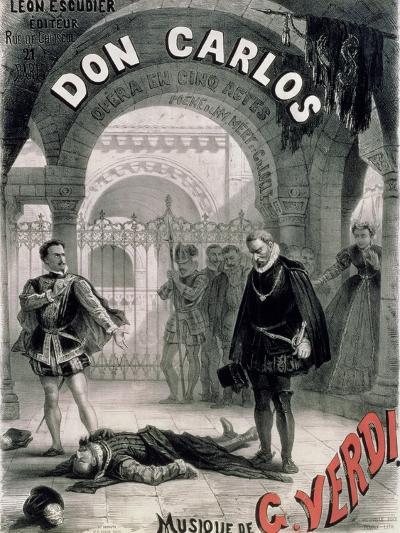 "Poster Advertising ""Don Carlos,"" Opera by Giuseppe Verdi (1816-1901) Engraved by Telory-Alphonse Marie de Neuville-Giclee Print"