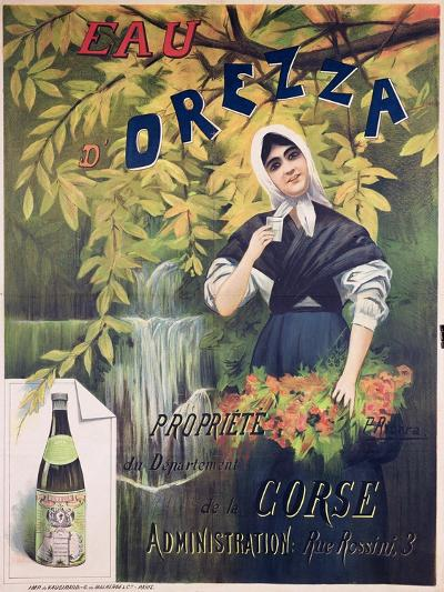 Poster Advertising 'Eau D'Orezza', Natural Mineral Water-P. Ribera-Giclee Print