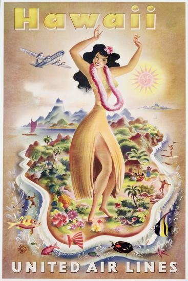 Poster Advertising Flights to Hawaii with United Air Lines, C.1950--Giclee Print