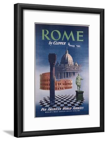 Poster Advertising Flights to Rome by Clipper, Produced by Pan American Airlines, C.1950
