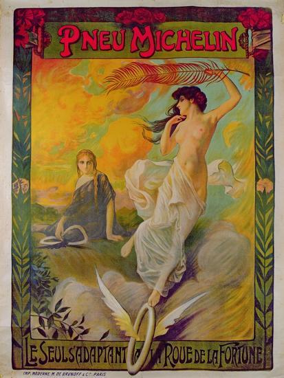 Poster Advertising for Michelin 'Pneu Michelin, Le Seul S'Adaptant a La Roue De La Fortune'--Giclee Print