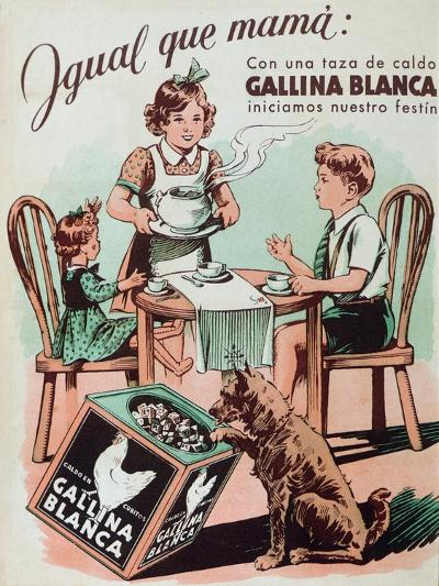 Poster Advertising Gallina Blanca Stock Cubes, 1950--Giclee Print