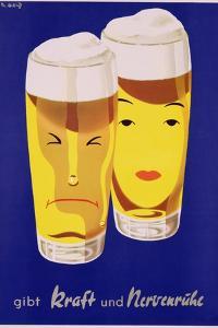 Poster Advertising German Beer, C.1950