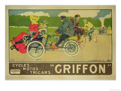"Poster Advertising ""Griffon Cycles, Motos & Tricars""-Walter Thor-Giclee Print"
