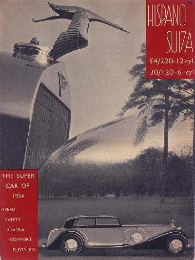 Poster Advertising Hispano-Suiza Cars, 1934--Giclee Print