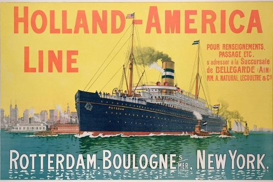 Poster Advertising 'Holland-America Line'-French School-Giclee Print