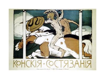 Poster Advertising Horse Racing, 1900-Evgeni Telyakovsky-Giclee Print