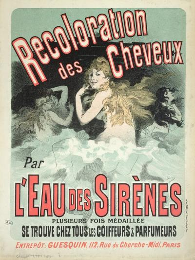 Poster Advertising l'Eau Des Sirenes Hair Colourant, 1899-Jules Ch?ret-Giclee Print