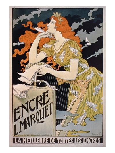 Poster Advertising 'L. Marquet Ink, the Best of All Inks', 1892 (Colour Litho)-Franz Grassel-Giclee Print