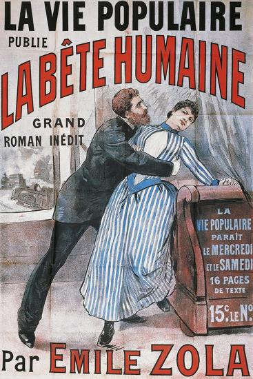 Poster Advertising La Vie Populaire, Parisian Magazine Dedicated to Novel La Bete Humaine-Emile Zola-Giclee Print
