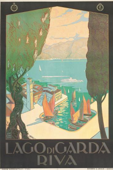 Poster Advertising Lago Di Garda, Riva, C. 1926-Antonio Simeoni-Giclee Print