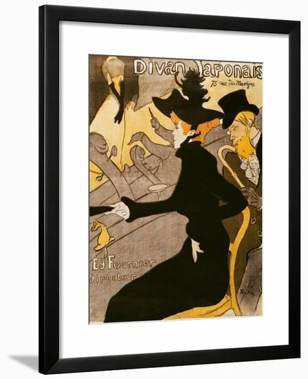 """Poster Advertising """"Le Divan Japonais"""", 1892-Henri de Toulouse-Lautrec-Framed Giclee Print"""