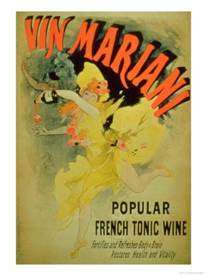 """Poster Advertising """"Mariani Wine, Popular French Tonic Wine""""-Jules Ch?ret-Giclee Print"""