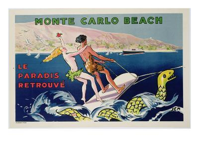 Poster Advertising Monte Carlo Beach, Printed by Draeger, Paris, C.1932 (Colour Litho)-Sem-Giclee Print