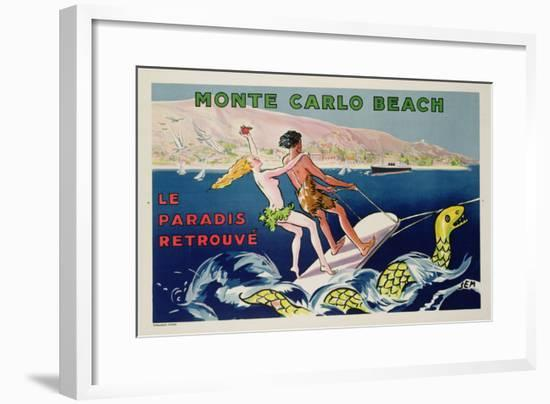 Poster Advertising Monte Carlo Beach, Printed by Draeger, Paris, C.1932 (Colour Litho)-Sem-Framed Giclee Print