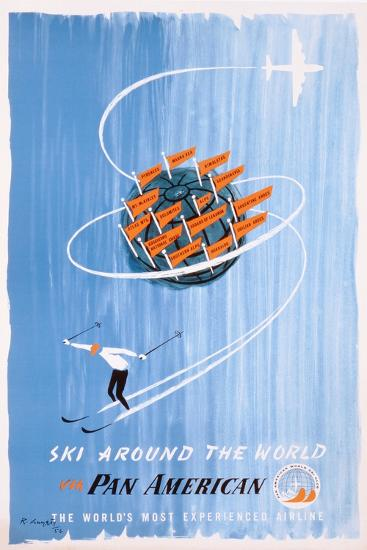 Poster Advertising 'Pan American' Flights to Skiing Destinations, 1956--Giclee Print