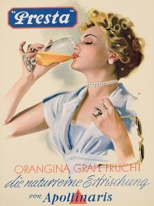 Poster Advertising 'Presta' Fruit Flavoured Mineral Water, C.1950