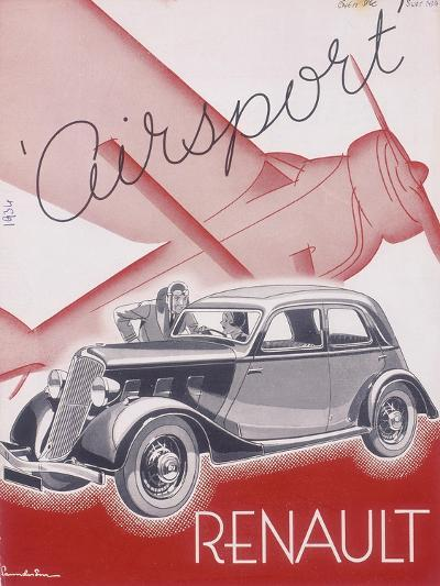 Poster Advertising Renault Cars, 1934--Giclee Print