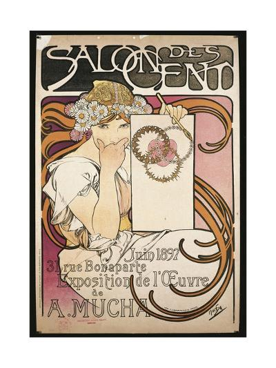 Poster Advertising Salon Des Cent Exhibition by Alphonse Mucha, 1897--Giclee Print